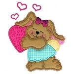 Hug My Heart Bunny Applique Design