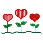 Heart Trio Applique Designs