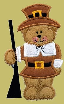 Pilgrim Bear Applique Design