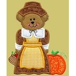 Pilgrim Girl Bear Applique Design