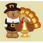 Pilgrim Bear And Turkey Applique Design