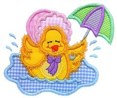 Puddle Ducky Applique Design